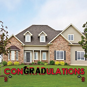 conGRADulations - Red Grad - Best is Yet to Come - Yard Sign Outdoor Lawn Decorations - Red 2019 Graduation Party Yard Signs