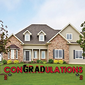 conGRADulations - Red Grad - Best is Yet to Come - Yard Sign Outdoor Lawn Decorations - Red 2020 Graduation Party Yard Signs