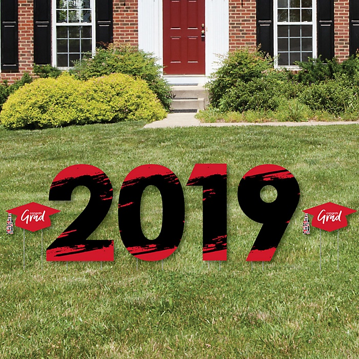 Red Grad - Best is Yet to Come - 2019 Yard Sign Outdoor Lawn Decorations - Red Graduation Party Yard Signs - 2019