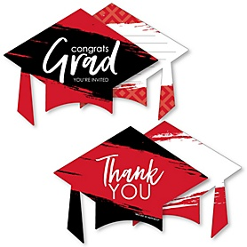 Red Grad - Best is Yet to Come - 20 Shaped Fill-In Invitations and 20 Shaped Thank You Cards Kit - Red Graduation Party Stationery Kit - 40 Pack