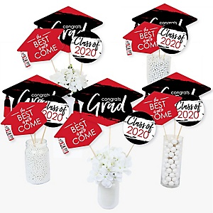Red Grad - Best is Yet to Come - 2020 Red Graduation Party Centerpiece Sticks - Table Toppers - Set of 15
