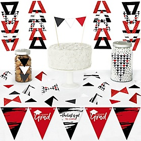 Red Grad - Best is Yet to Come - DIY Pennant Banner Decorations - Red Graduation Party Triangle Kit - 99 Pieces