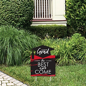 Red Grad - Best is Yet to Come - Outdoor Lawn Sign - Red Graduation Party Yard Sign - 1 Piece