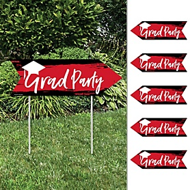 Red Grad - Best is Yet to Come - Arrow Graduation Party Direction Signs - Double Sided Outdoor Yard Signs - Set of 6