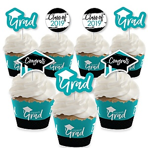 Teal Grad - Best is Yet to Come - Cupcake Decoration - 2019 Turquoise Graduation Party Cupcake Wrappers and Treat Picks Kit - Set of 24