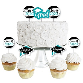 Teal Grad - Best is Yet to Come - Dessert Cupcake Toppers - Turquoise 2020 Graduation Party Clear Treat Picks - Set of 24