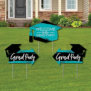 Teal Grad - Best is Yet to Come - 2 Turquoise Graduation Party Arrows and 1 Welcome / Thank You Lawn Sign - Double Sided Grad Yard Sign Set - 3 Pieces
