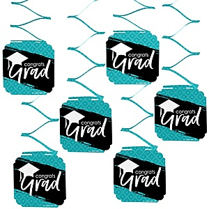 Teal Grad - Best is Yet to Come - Graduation Party Hanging Decorations - 6 ct