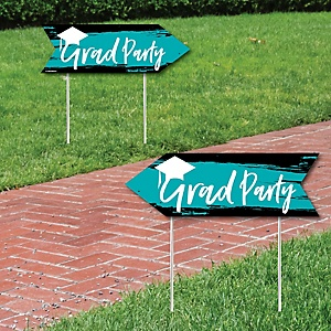 Teal Grad - Best is Yet to Come - Graduation Party Sign Arrow - Double Sided Directional Yard Signs - Set of 2