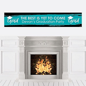 Teal Grad - Best is Yet to Come - Personalized Teal Graduation Party Banner