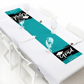 Teal Grad - Best is Yet to Come  - Personalized Graduation Party Petite Table Runner
