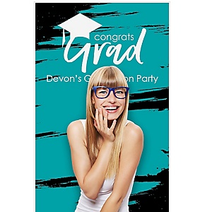 """Teal Grad - Best is Yet to Come - Personalized Graduation Party Photo Booth Backdrops - 36"""" x 60"""""""