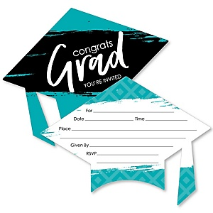 Teal Grad - Best is Yet to Come - Shaped Fill-In Invitations - Graduation Party Invitation Cards with Envelopes - Set of 12