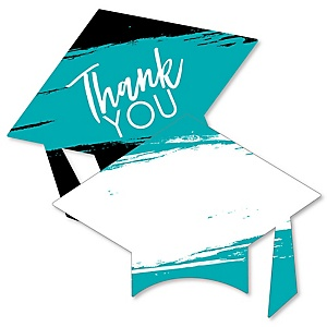 Teal Grad - Best is Yet to Come - Shaped Thank You Cards - Turquoise Graduation Party Thank You Note Cards with Envelopes - Set of 12