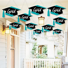 Hanging Teal Grad - Best is Yet to Come - Outdoor Graduation Party Hanging Porch & Tree Yard Decorations - 10 Pieces