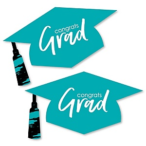 Teal Grad - Best is Yet to Come - Graduation Hat Decorations DIY Large Turquoise Graduation Party Essentials - 20 Count