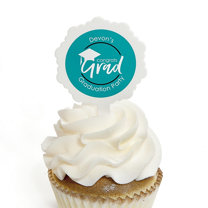 Teal Grad - Best is Yet to Come - Personalized Graduation Cupcake Pick and Sticker Kit - 12 ct