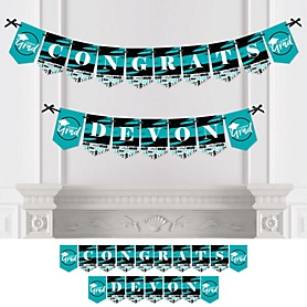 Teal Grad - Best is Yet to Come - Personalized 2020 Turquoise Graduation Party Bunting Banner & Decorations