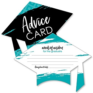 Teal Grad - Best is Yet to Come - Turquoise Grad Cap Wish Card Graduation Party Activities - Shaped Advice Cards Games - Set of 20