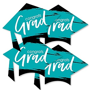 Teal Grad - Best is Yet to Come - Grad Cap Decorations DIY Turquoise Graduation Party Essentials - Set of 20