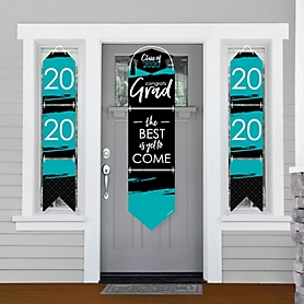 Teal Grad - Best is Yet to Come - Hanging Porch Front Door Signs - 2020 Teal Graduation Party Banner Decoration Kit - Outdoor Door Decor