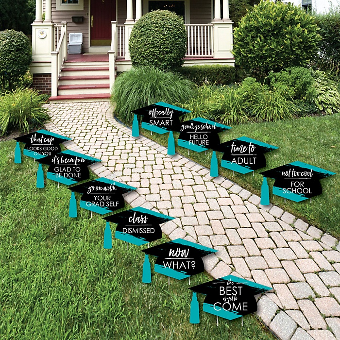 Teal Grad - Best is Yet to Come - Grad Cap Lawn Decorations - Outdoor Teal Graduation Party Yard Decorations - 10 Piece