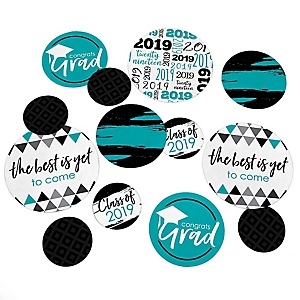 Teal Grad - Best is Yet to Come - 2019 Turquoise Graduation Party Giant Circle Confetti - Teal Grad Party Decorations - Large Confetti 27 Count