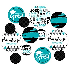 Teal Grad - Best is Yet to Come - 2020 Turquoise Graduation Party Giant Circle Confetti - Teal Grad Party Decorations - Large Confetti 27 Count