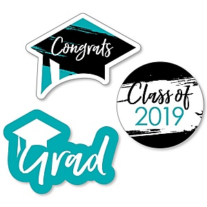 Teal Grad - Best is Yet to Come - DIY Shaped 2019 Turquoise Graduation Party Paper Cut-Outs - 24 ct