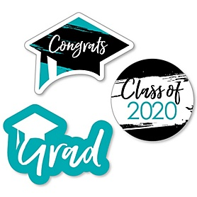 Teal Grad - Best is Yet to Come - DIY Shaped 2020 Turquoise Graduation Party Paper Cut-Outs - 24 ct