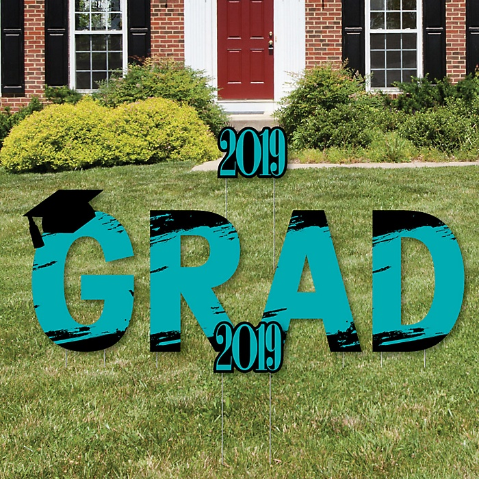 GRAD - Teal Grad - Best is Yet to Come - Yard Sign Outdoor Lawn Decorations - 2019 Turquoise Graduation Party Yard Signs