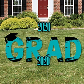 GRAD - Teal Grad - Best is Yet to Come - Yard Sign Outdoor Lawn Decorations - 2020 Turquoise Graduation Party Yard Signs