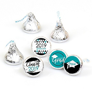 Teal Grad - Best is Yet to Come - Round Candy Labels 2019 Turquoise Graduation Party Favors - Fits Hershey's Kisses 108 ct