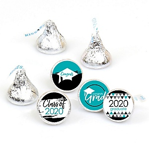 Teal Grad - Best is Yet to Come - Round Candy Labels 2020 Turquoise Graduation Party Favors - Fits Hershey's Kisses 108 ct