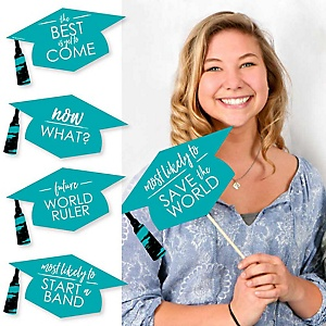 Hilarious Teal Grad - Best is Yet to Come - 20 Piece Teal Graduation Party Photo Booth Props Kit