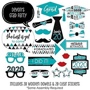 Teal Grad - Best is Yet to Come - 20 Piece 2020 Turquoise Graduation Party Photo Booth Props Kit