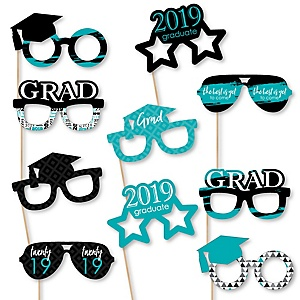 Teal Grad Glasses - Best is Yet to Come - 2019 Paper Card Stock Graduation Party Photo Booth Props Kit - 10 Count
