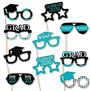 Teal Grad Glasses - Best is Yet to Come - 2020 Paper Card Stock Graduation Party Photo Booth Props Kit - 10 Count