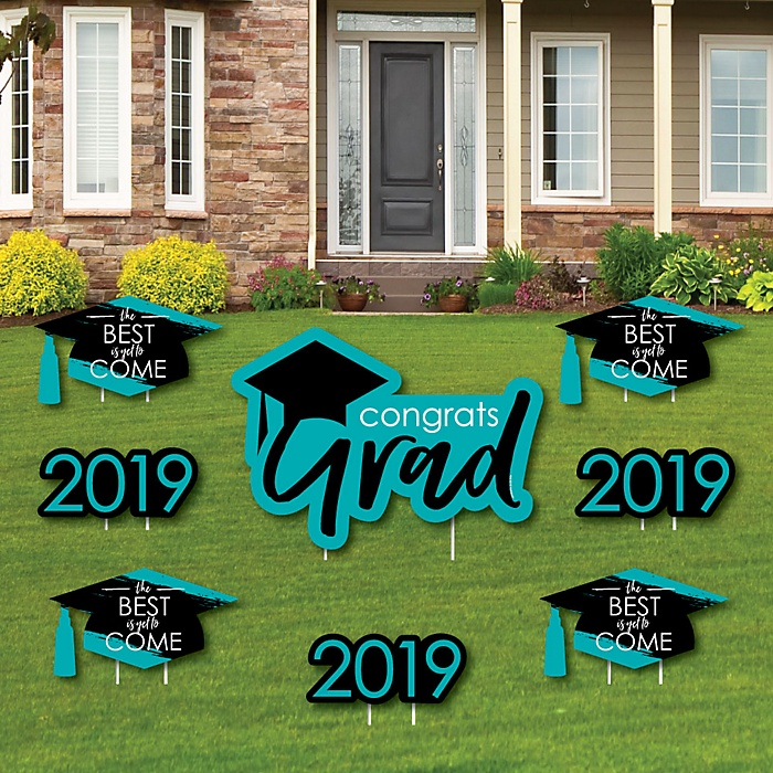 Teal Grad - Best is Yet to Come - Yard Sign & Outdoor Lawn Decorations – 2019 Turquoise Graduation Party Yard Signs - Set of 8