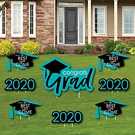 Teal Grad - Best is Yet to Come - Yard Sign & Outdoor Lawn Decorations – 2020 Turquoise Graduation Party Yard Signs - Set of 8