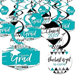 Teal Grad - Best is Yet to Come - 2019 Turquoise Graduation Party Hanging Decor - Party Decoration Swirls - Set of 40