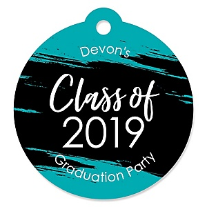 Teal Grad - Best is Yet to Come - Round Personalized 2019 Turquoise Graduation Party Die-Cut Tags - 20 ct
