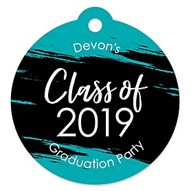 Teal Grad - Best is Yet to Come - Round Personalized 2020 Turquoise Graduation Party Die-Cut Tags - 20 ct