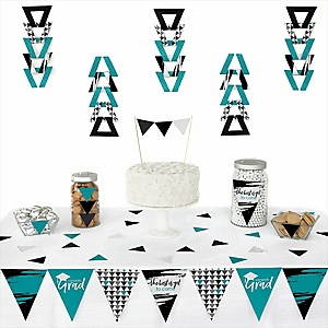 Teal Grad - Best is Yet to Come -  Triangle Graduation Party Decoration Kit - 72 Piece