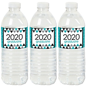 Teal Grad - Best is Yet to Come - 2020 Turquoise Graduation Party Water Bottle Sticker Labels - Set of 20