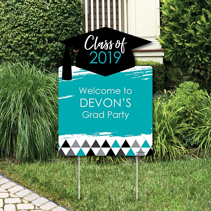 Teal Grad - Best is Yet to Come - Party Decorations - 2019 Turquoise Graduation Party Personalized Welcome Yard Sign