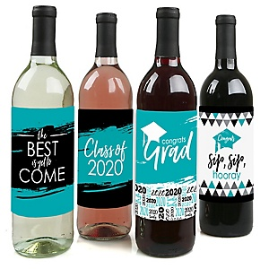 Teal Grad - Best is Yet to Come - 2020 Graduation Decorations for Women and Men - Wine Bottle Label Stickers - Set of 4
