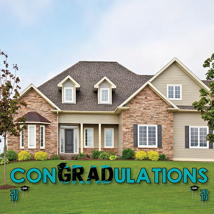 conGRADulations - Teal Grad - Best is Yet to Come - Yard Sign Outdoor Lawn Decorations - 2019 Turquoise Graduation Party Yard Signs