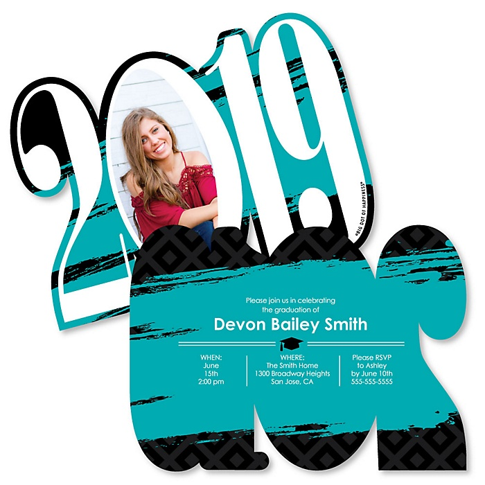 Teal Grad - Best is Yet to Come - Personalized 2019 Photo Graduation Announcement - Set of 12