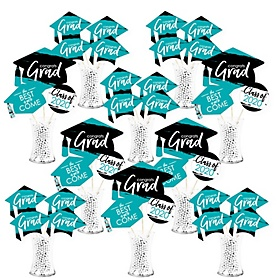 Teal Grad - Best is Yet to Come - 2020 Turquoise Graduation Party Centerpiece Sticks - Showstopper Table Toppers - 35 Pieces